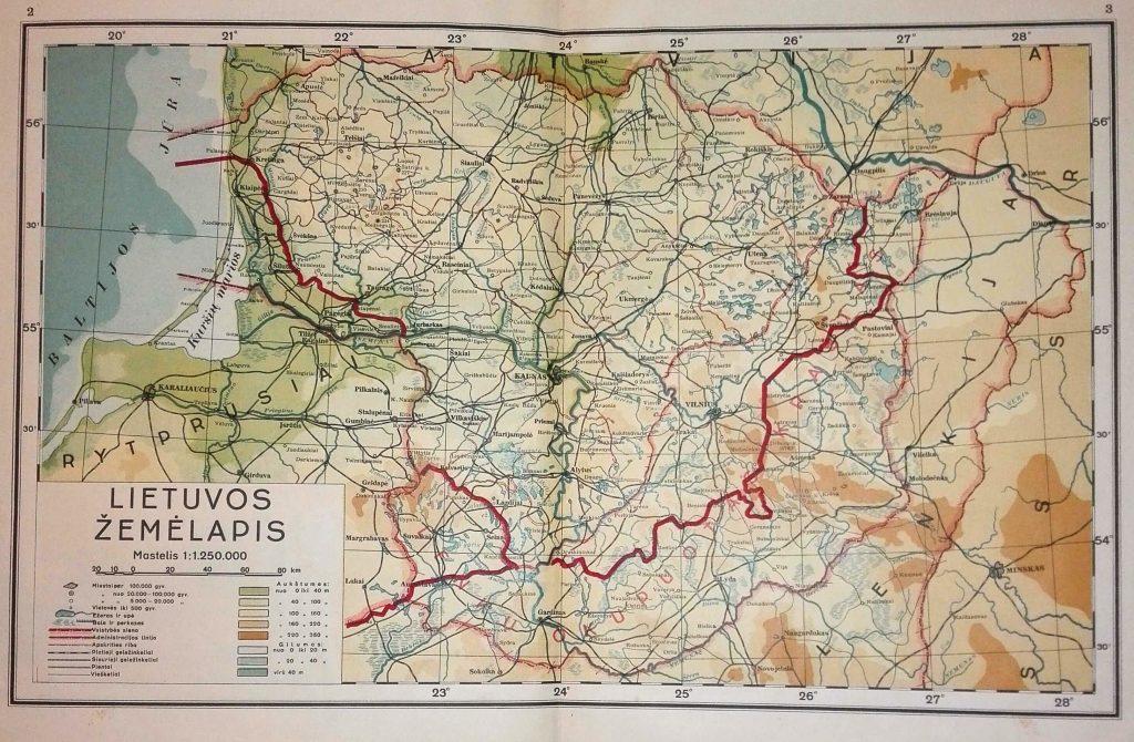 Карта Литвы, 1938 г.