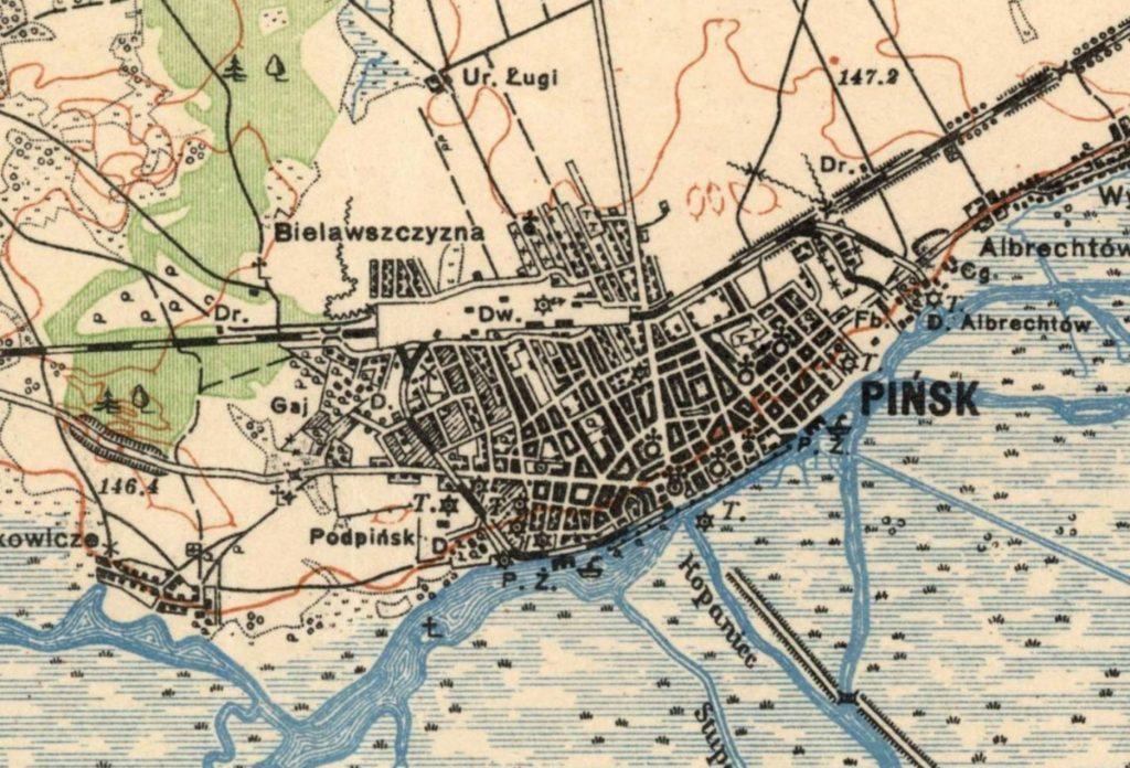 Карта Пинска, 1925 г.