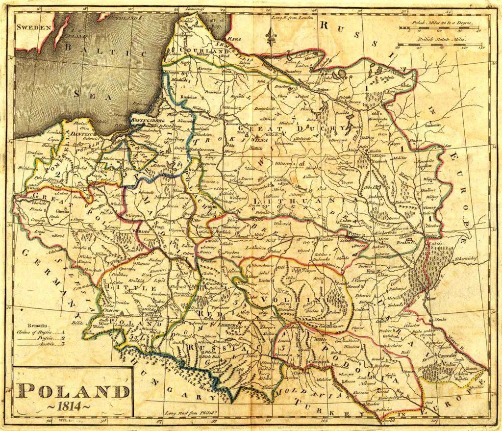 Карта Польши, 1814 г.
