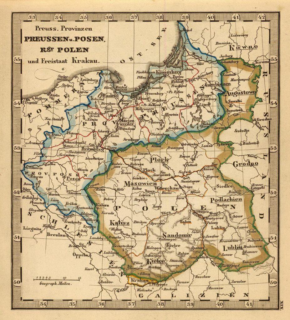 Карта Пруссии, Польши, Познани и Кракова, 1852 г.