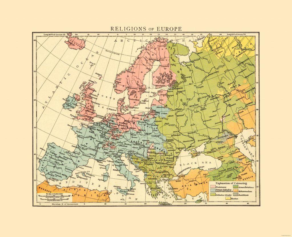 Религиозные карты Европы, 1893 г.