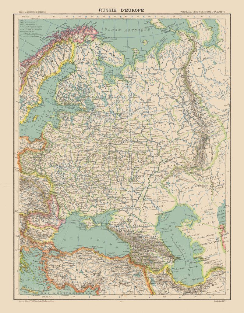 Карта Европейской России, 1908 г.