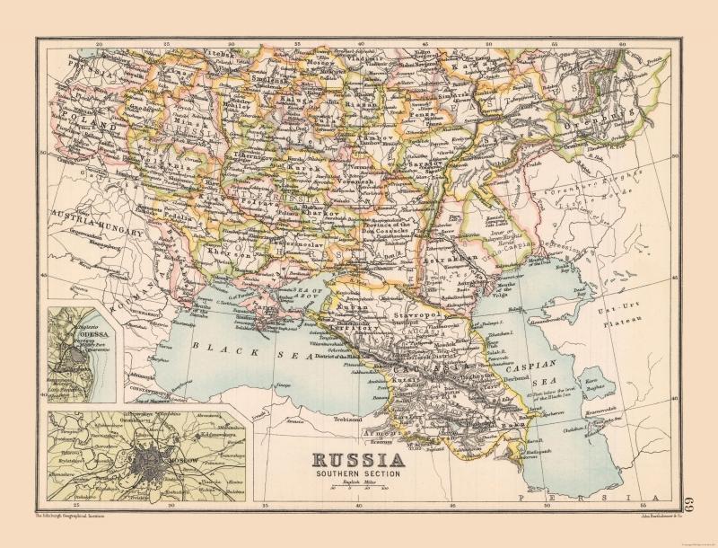 Карта Российской империи, юго-запад, 1892 г.