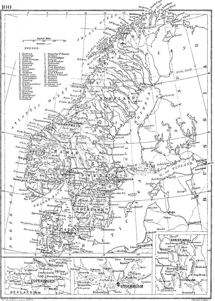 Карта Скандинавии, 1892 г.