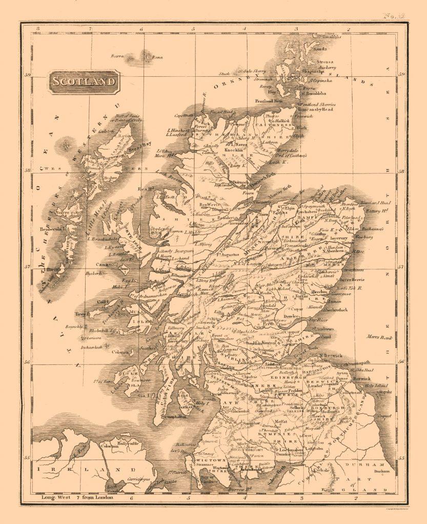Карта Шотландии, 1817 г.