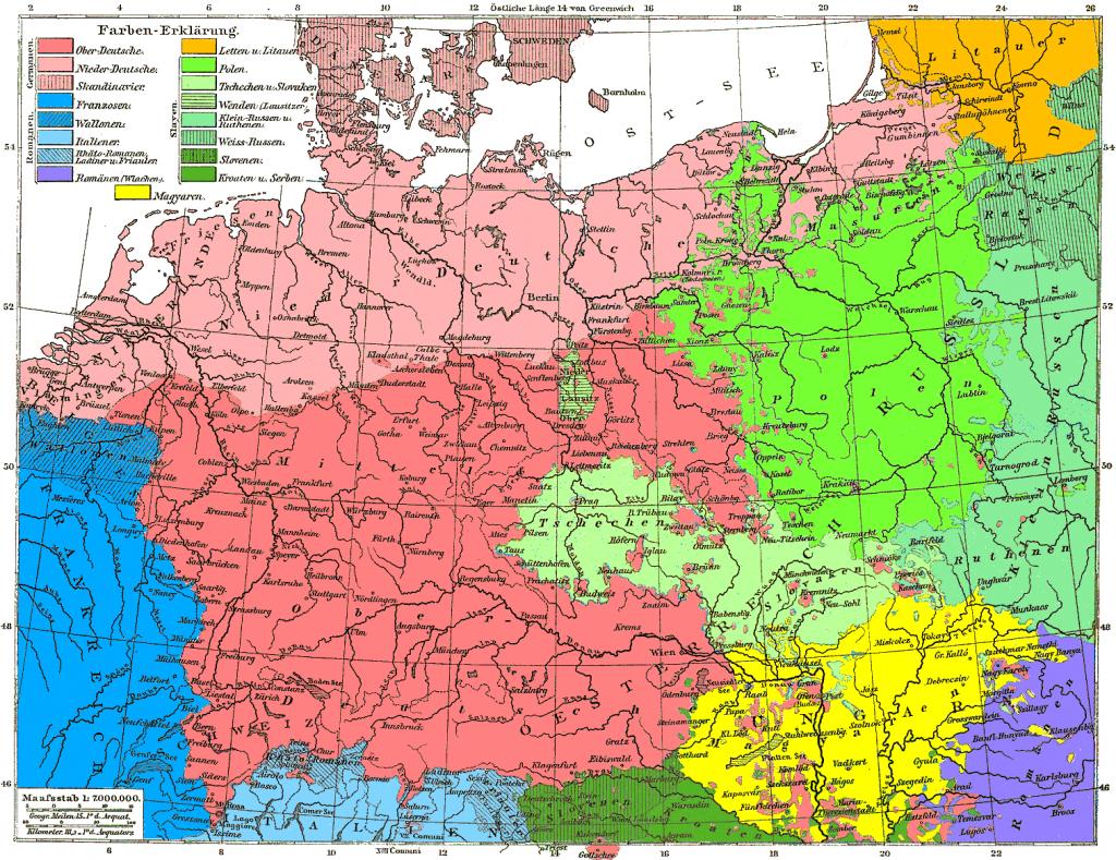 Карта исторического распределения немецкоговорящего населения в Европе по состоянию на 1880 год