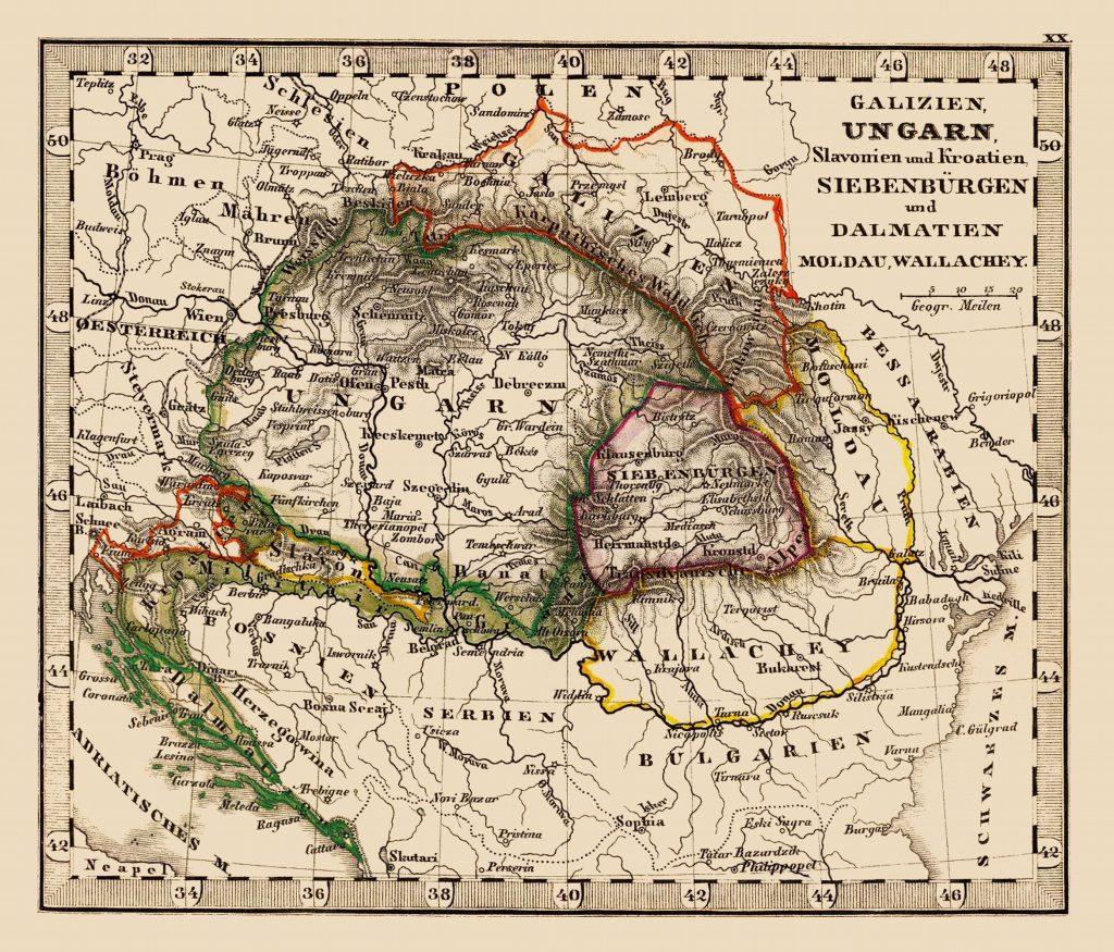 Карта Транслейтании, 1852 г.