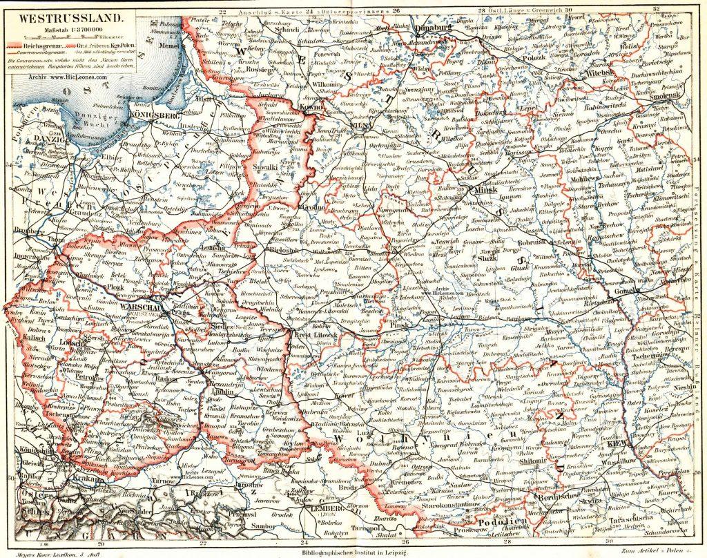Карта западной части Российской империи начала XX века