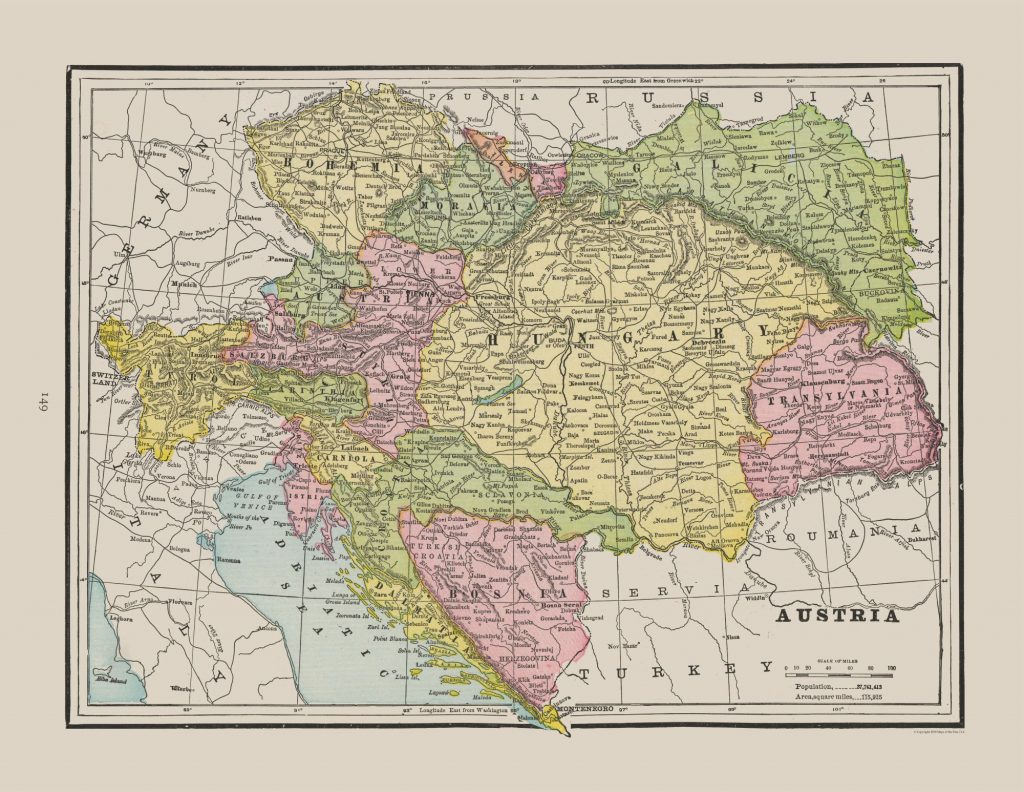 Карта Австро-Венгрии, 1892 г.