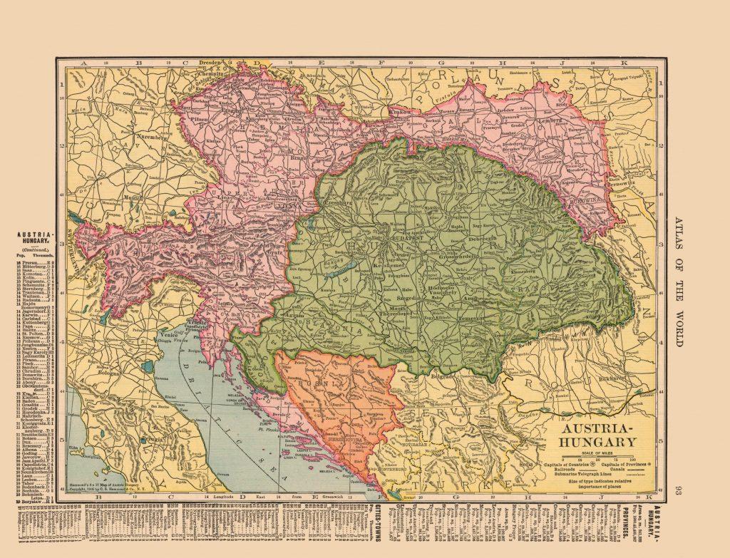 Карта Австро-Венгрии, 1910 г.