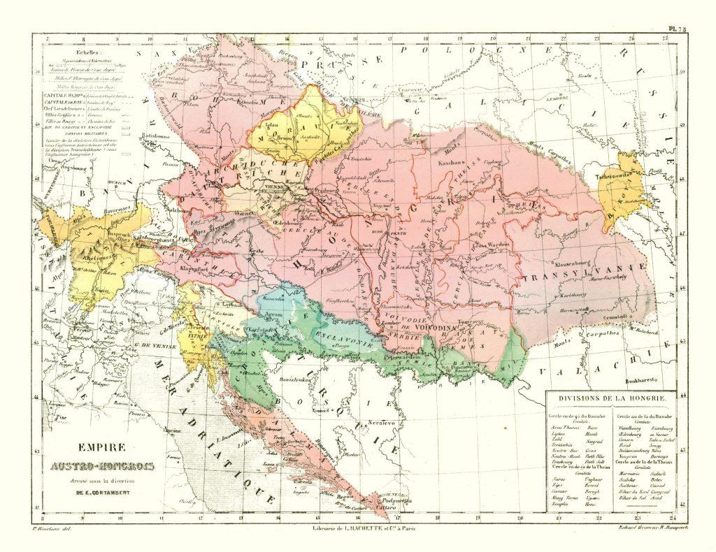 Карта Австро-Венгрии, 1880 г.