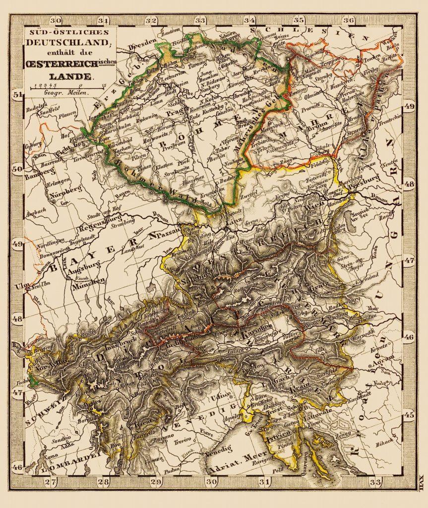 Карта Австрии, Богемии и Моравии, 1852 г.