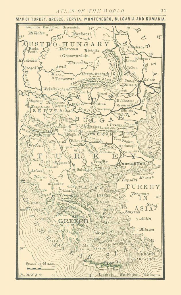 Карта Балканского полуострова, 1886 г.