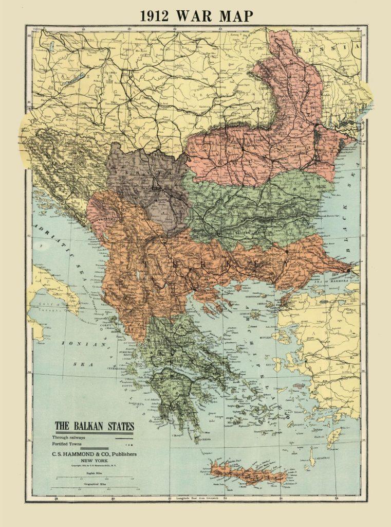 Карта Балкан во время Первой Балканской войны, 1912 г.