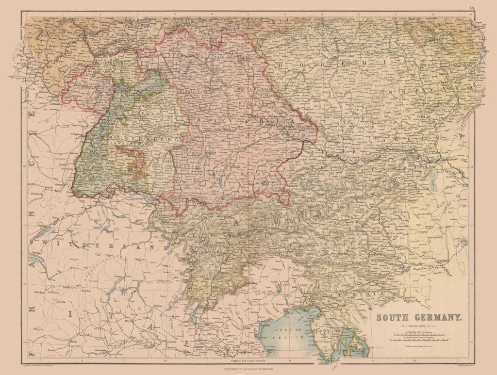 Карта Южной Германии, Чехии и Австрии, 1867 г.