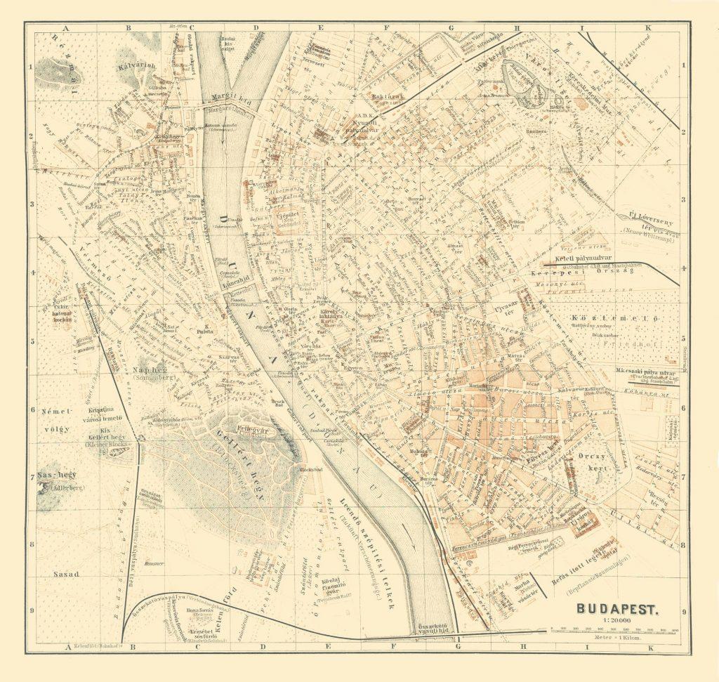 Карта Будапешта, 1896 г.