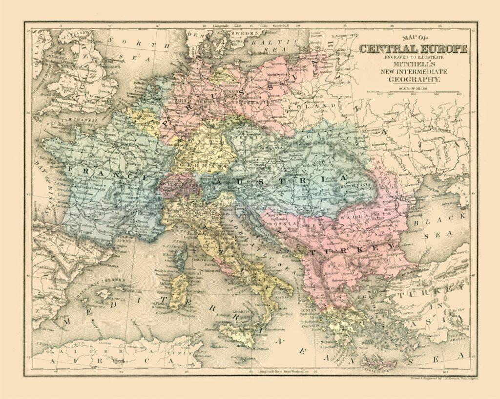 Карта Центральной Европы, 1877 г.