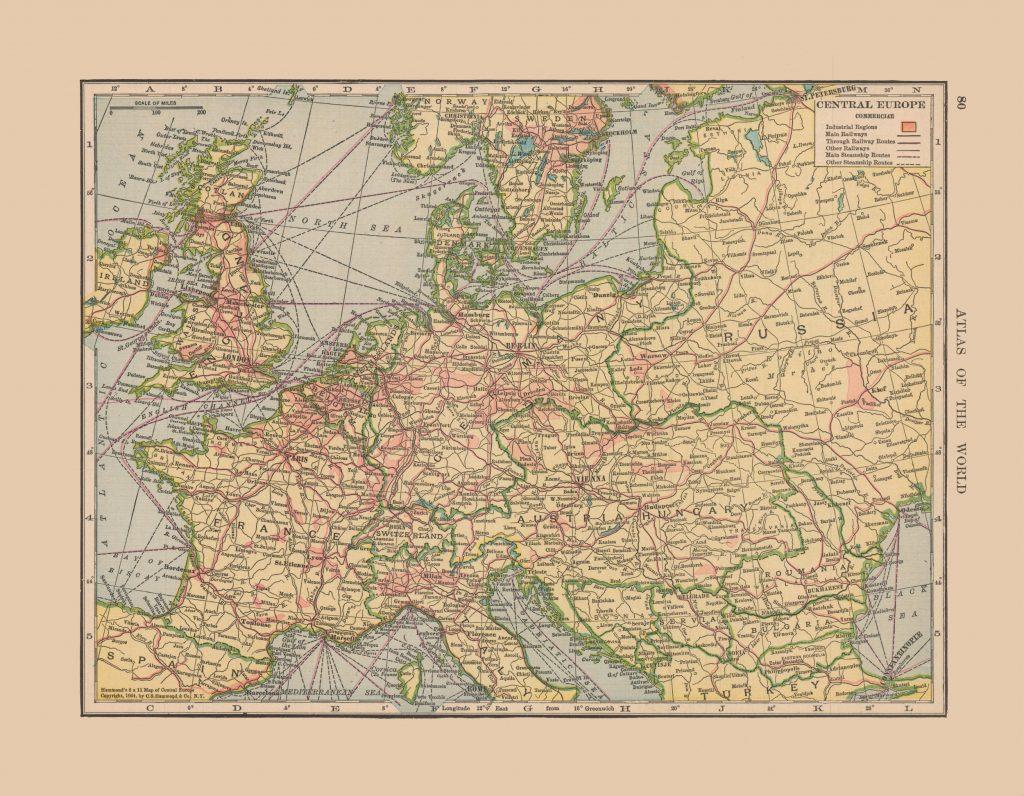Карта Центральной Европы, 1910 г.