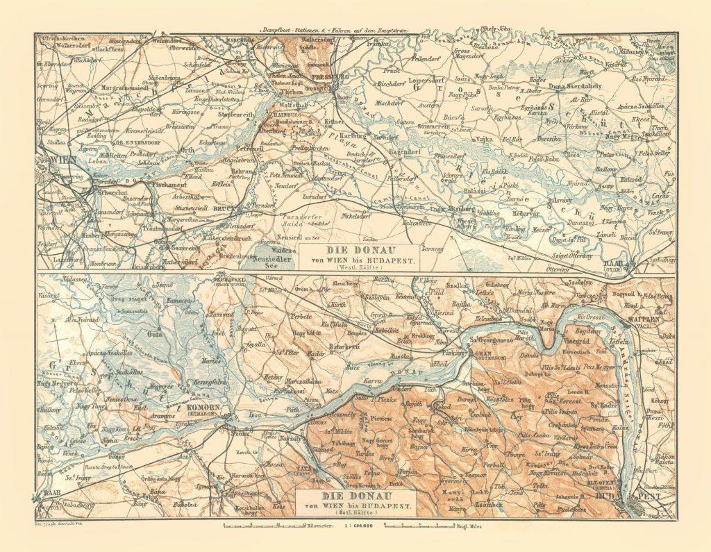 Карта Дуная, 1896 г.