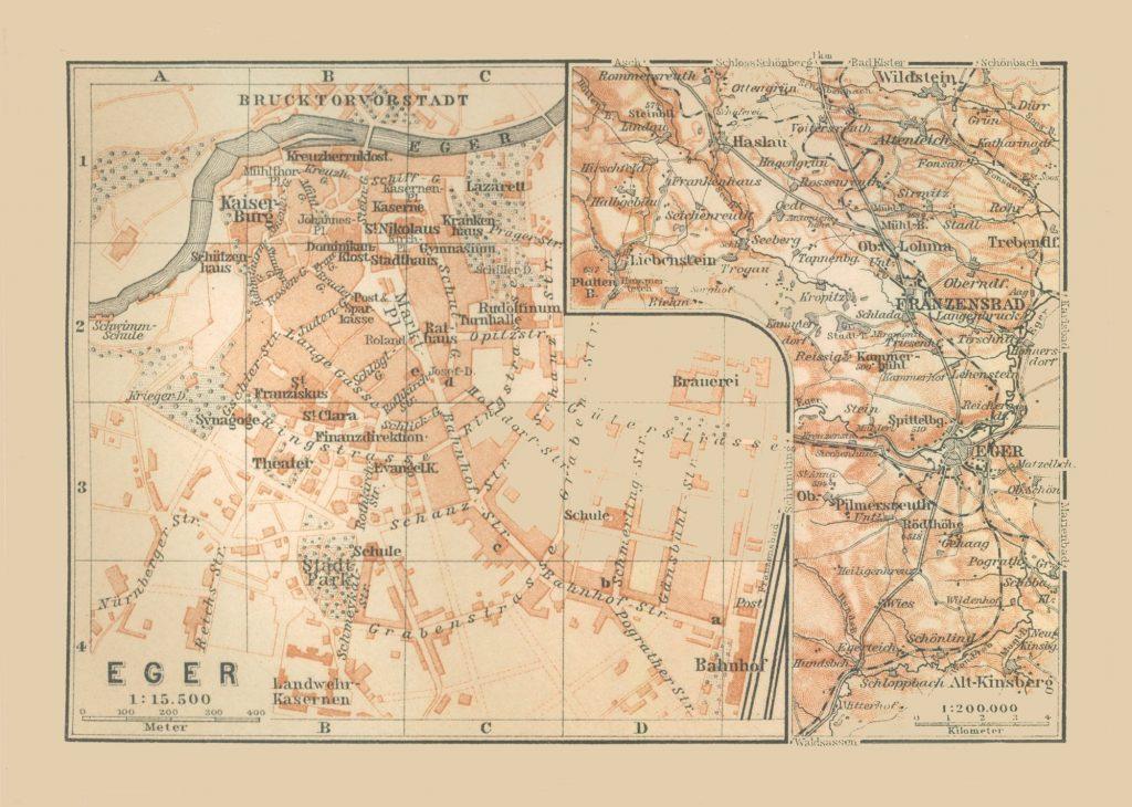 Карта города Эгер (Венгрия), 1910 г.