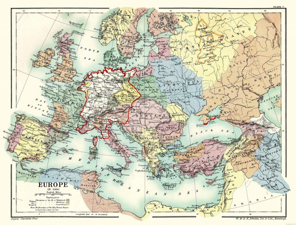 Карта Европы, 1360 г.