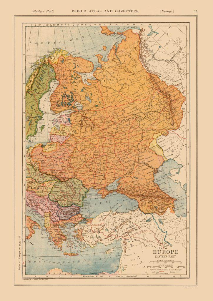 Карта Восточной Европы, 1921 г.