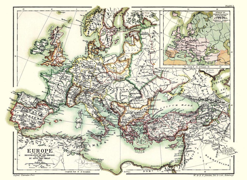 Карта Европы, 962 г.