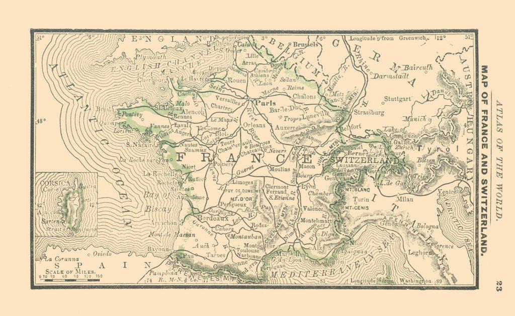 Карта Франции и Швейцарии, 1886 г.
