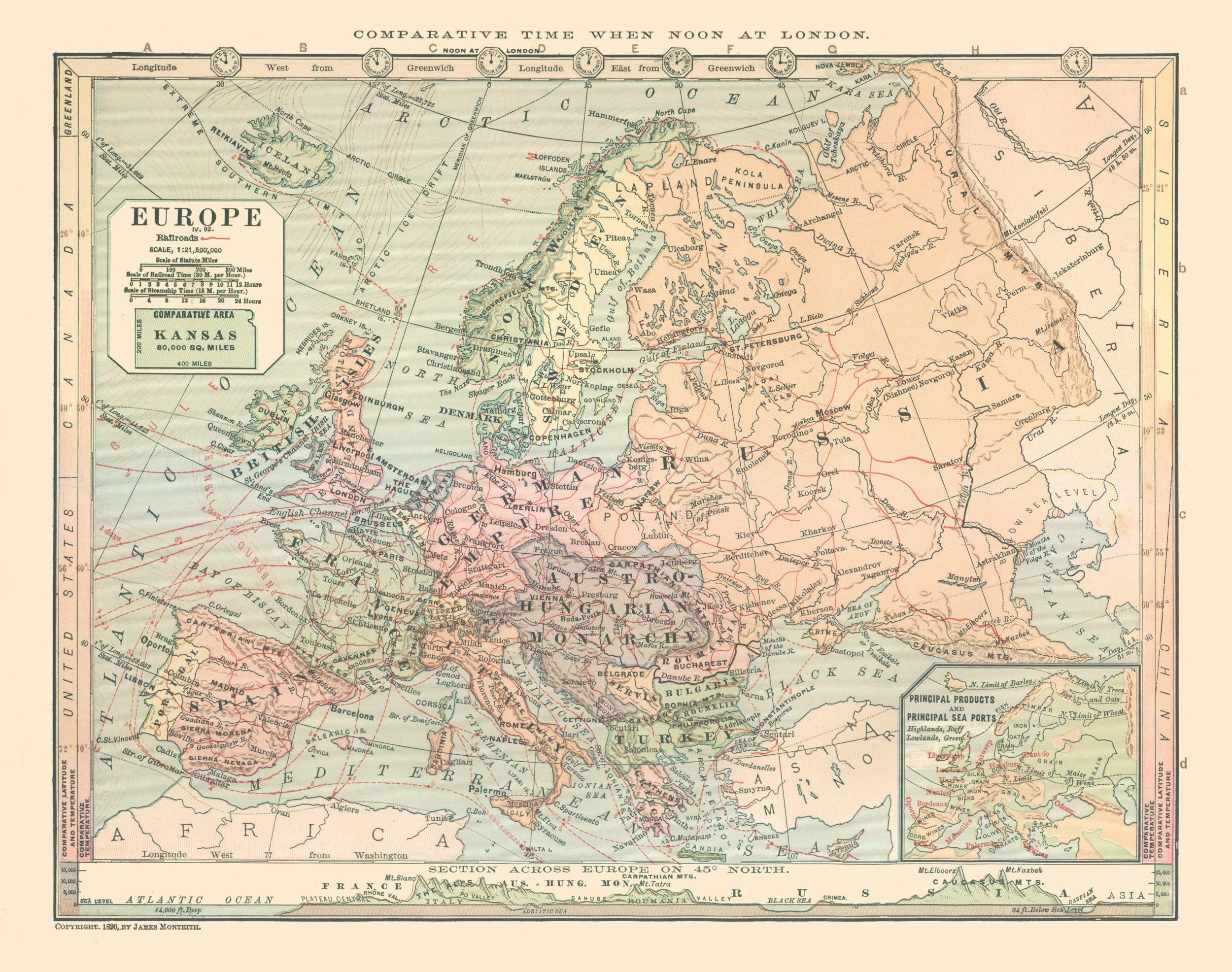 Karta Zh D Putej I Morskih Marshrutov Evropy 1882 G Starye Karty